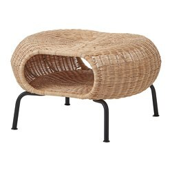 GAMLEHULT footstool with storage, rattan, anthracite