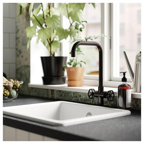 GAMLESJÖN Dual-control kitchen mixer tap, brushed black metal
