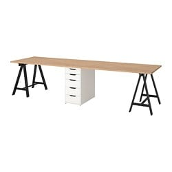 GERTON table, beech, black white