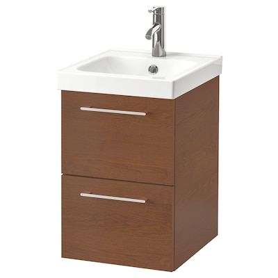 GODMORGON / ODENSVIK Wash-stand with 2 drawers, brown stained ash effect/Pilkån tap, 43x49x64 cm