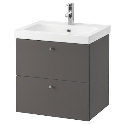 GODMORGON / ODENSVIK Wash-stand with 2 drawers, Gillburen dark grey/Dalskär tap, 63x49x64 cm
