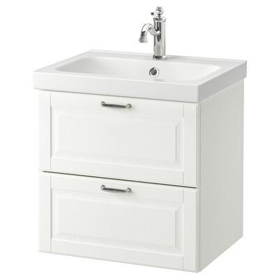 GODMORGON / ODENSVIK Wash-stand with 2 drawers, Kasjön white/Hamnskär tap, 63x49x64 cm