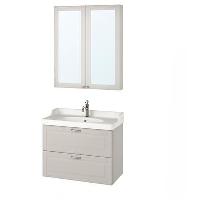 GODMORGON / RÄTTVIKEN Bathroom furniture, set of 4, Kasjön light grey/Hamnskär tap, 82 cm