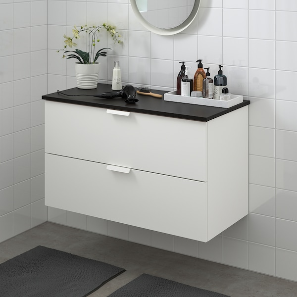 GODMORGON / TOLKEN Wash-stand with 2 drawers, white/anthracite, 102x49x60 cm