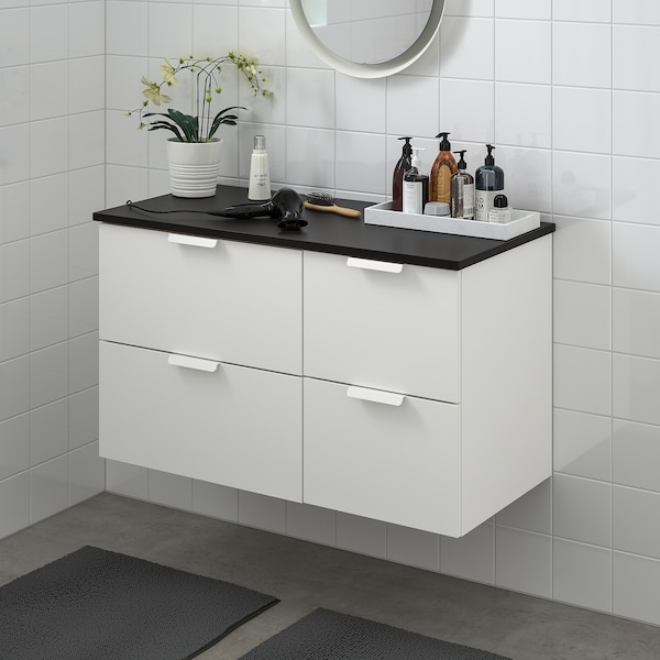 GODMORGON / TOLKEN Wash-stand with 4 drawers, white/anthracite, 102x49x60 cm