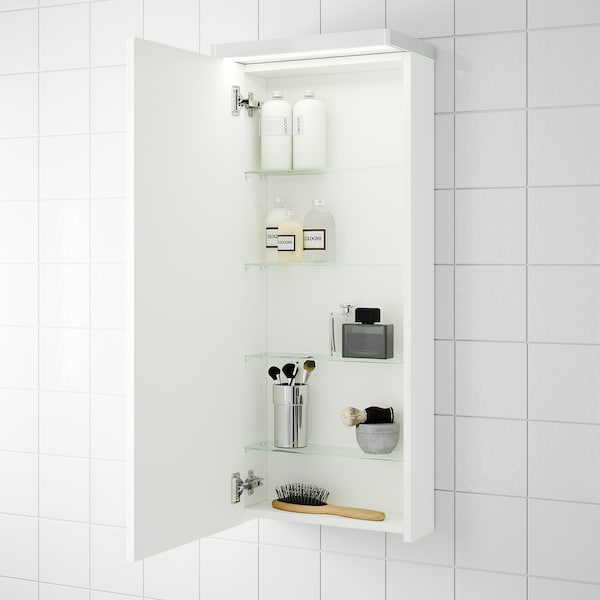 GODMORGON Wall cabinet with 1 door, white, 40x14x96 cm