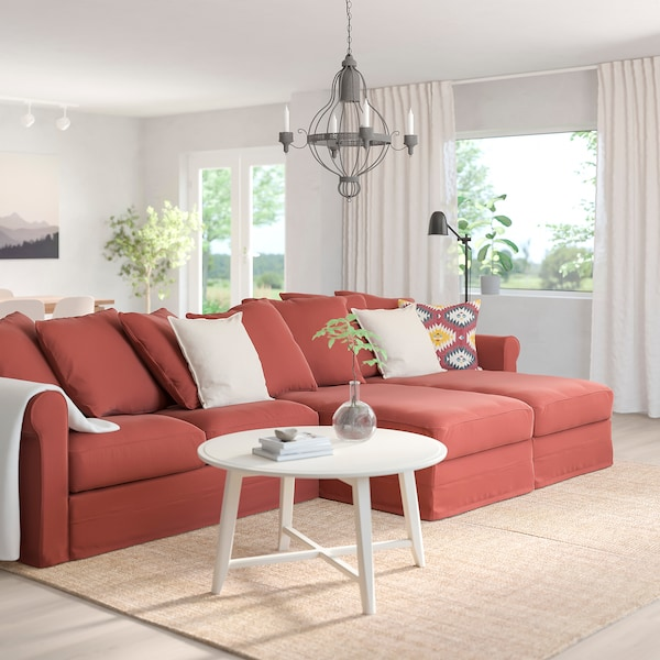 GRÖNLID 4-seat sofa with chaise longues, Ljungen light red