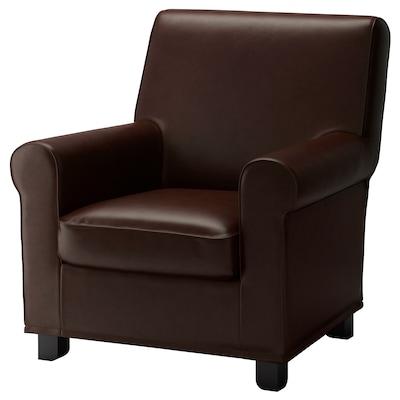 GRÖNLID Armchair, Kimstad dark brown