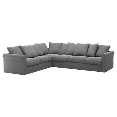 GRÖNLID Corner sofa, 5-seat, Ljungen medium grey