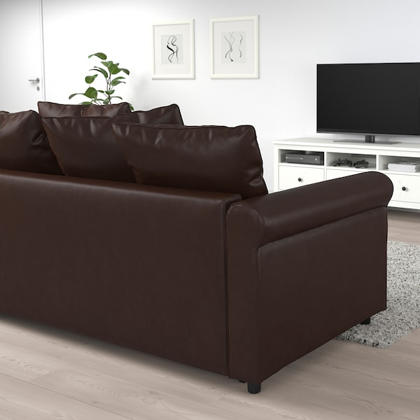 GRÖNLID Corner sofa-bed, 4-seat, with open end/Kimstad dark brown
