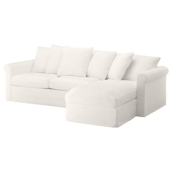 GRÖNLID Cover 3-seat sofa-bed w chaise lng, Inseros white