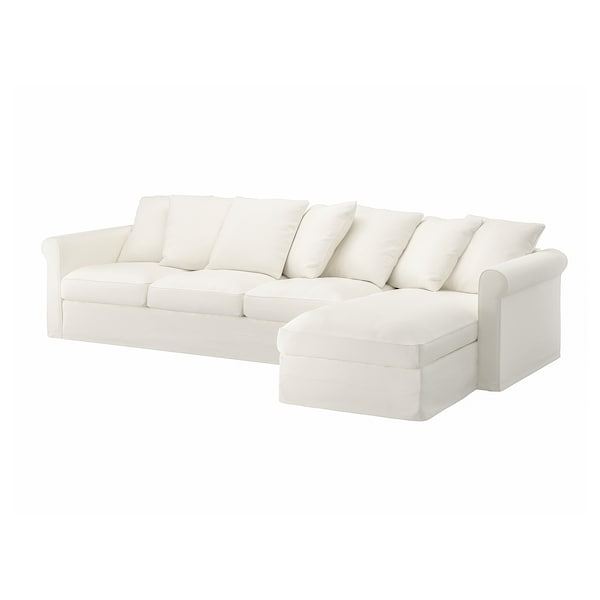 GRÖNLID Cover for 4-seat sofa, with chaise longue/Inseros white