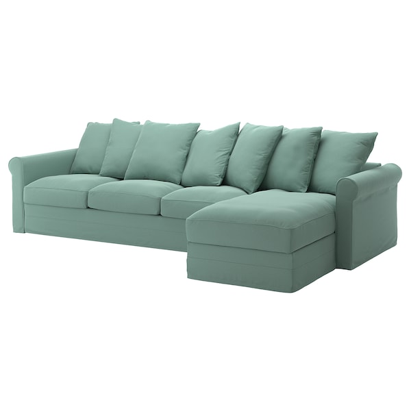 GRÖNLID Cover for 4-seat sofa, with chaise longue/Ljungen light green