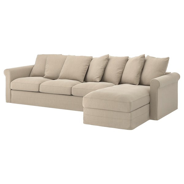 GRÖNLID Cover for 4-seat sofa, with chaise longue/Sporda natural