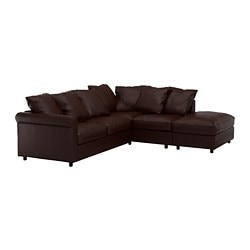 GRÖNLID corner sofa, 4-seat, with open end, Kimstad dark brown