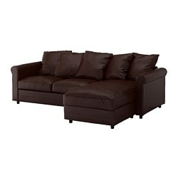 GRÖNLID 3-seat sofa, with chaise longue, Kimstad dark brown