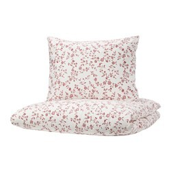 HÄSSLEKLOCKA quilt cover and 2 pillowcases, white, pink