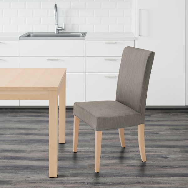 HENRIKSDAL Chair, birch/Nolhaga grey-beige