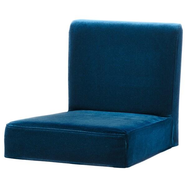 HENRIKSDAL Cover for bar stool with backrest, Djuparp dark green-blue