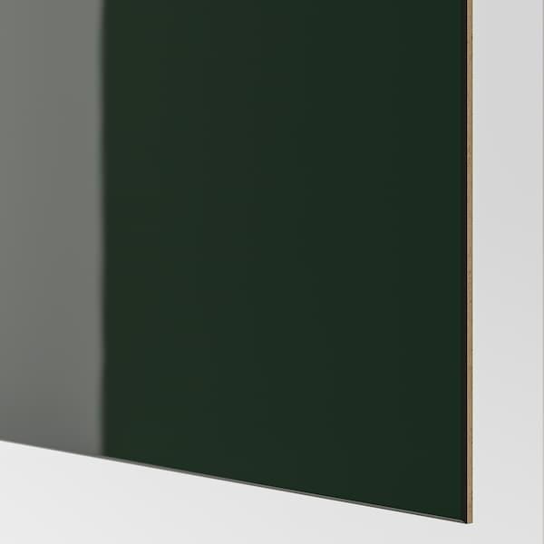 HOKKSUND Pair of sliding doors, high-gloss dark green, 150x236 cm