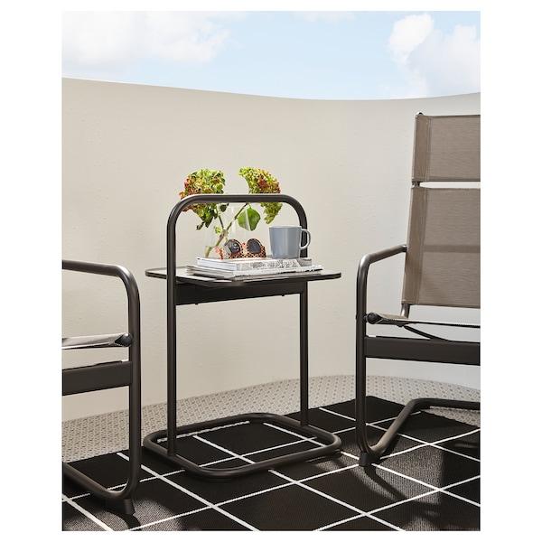 HUSARÖ Side table, outdoor, dark grey, 49x49 cm