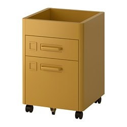 IDÅSEN drawer unit on castors, golden-brown