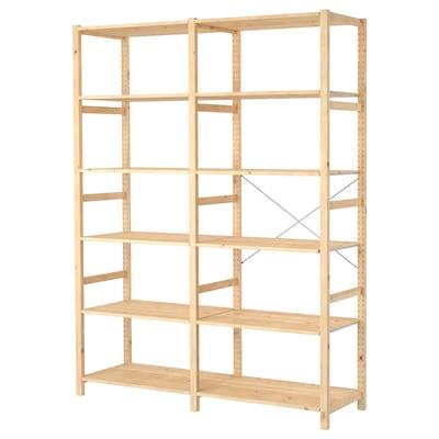 IVAR 2 sections/shelves, pine, 174x50x226 cm