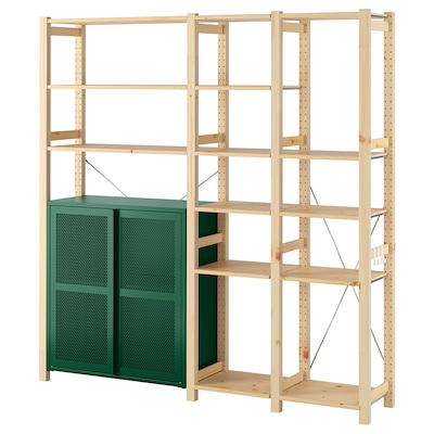 IVAR 3 sections/cabinet/shelves, pine/green mesh, 178x30x179 cm