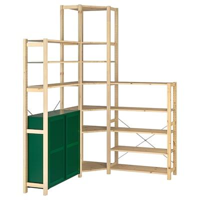 IVAR 3 sections/corner, pine/green mesh, 145/145x30x226 cm
