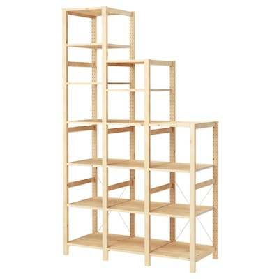 IVAR 3 sections/shelves, pine, 139x50x124-226 cm