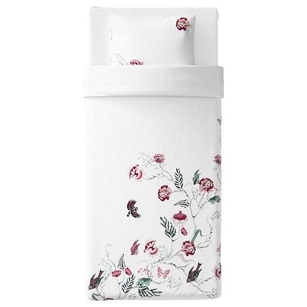 JÄTTELILJA Quilt cover and pillowcase, white/floral patterned, 150x200/50x60 cm