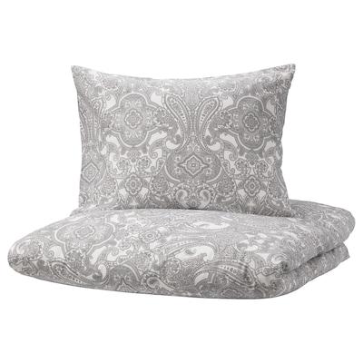 JÄTTEVALLMO Quilt cover and pillowcase, white/grey, 150x200/50x60 cm