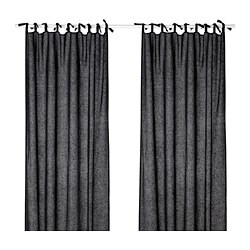 JOFRID curtains, 1 pair, dark blue-grey