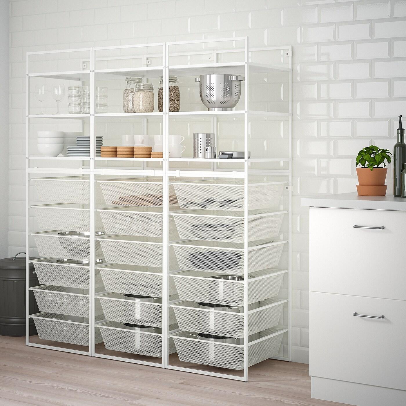 JONAXEL Frame/mesh baskets/shelving units, white, 148x51x173 cm