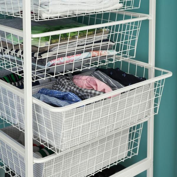 JONAXEL Frame/wire baskets/clothes rails, white, 142-178x51x139 cm