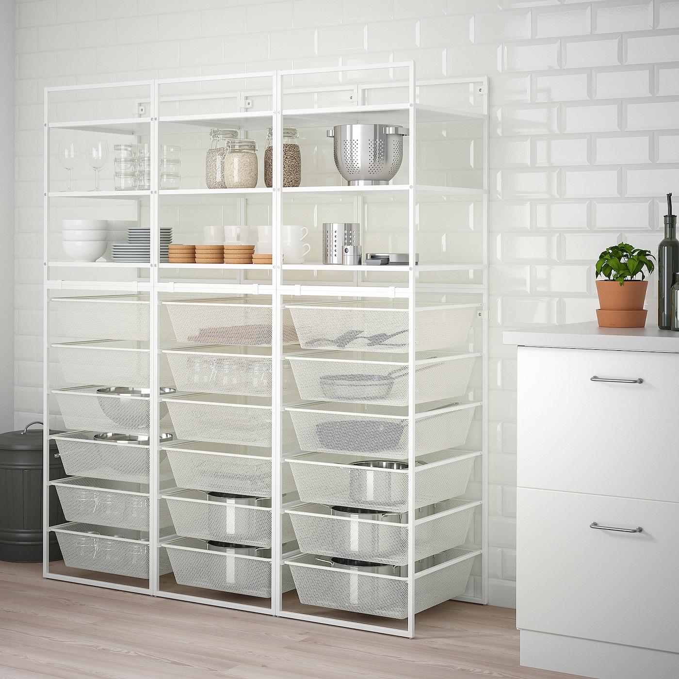 JONAXEL Open storage combination, white, 148x51x173 cm