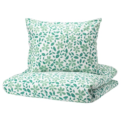 JUVELBLOMMA quilt cover and pillowcase white/green 104 /inch² 1 pack 200 cm 150 cm 50 cm 60 cm