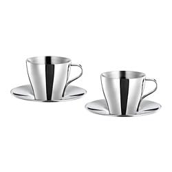 KALASET espresso cup and saucer, stainless steel