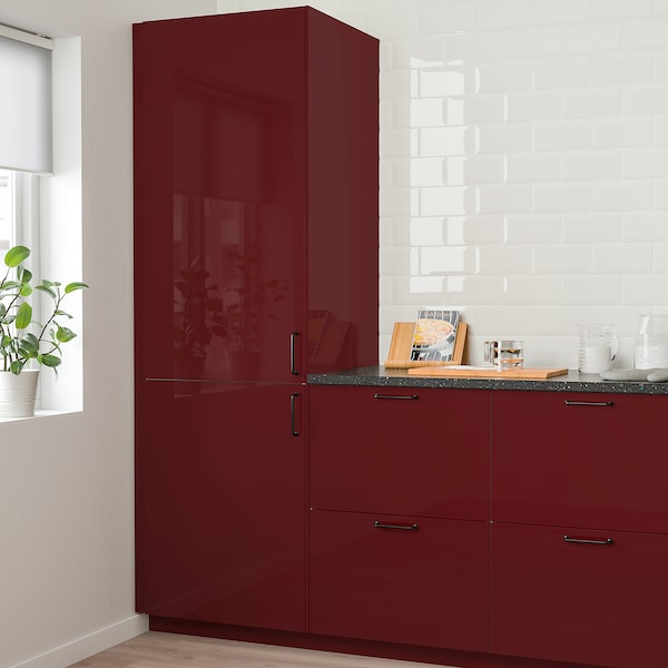 KALLARP Door, high-gloss dark red-brown, 20x80 cm