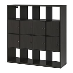 KALLAX shelving unit with 8 inserts, black-brown