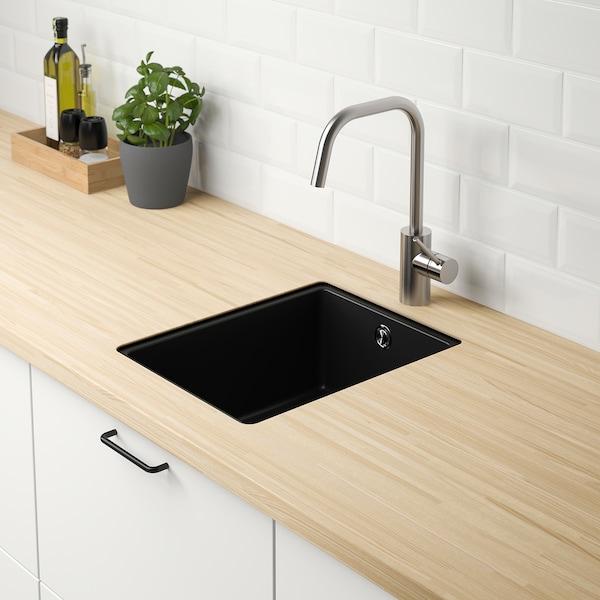 KILSVIKEN Inset sink, 1 bowl, black quartz composite/f custom made worktop thick veneer, 36x46 cm