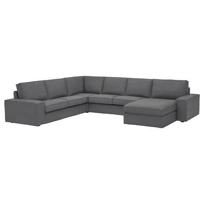 KIVIK corner sofa, 5-seat with chaise longue/Skiftebo dark grey 163 cm 95 cm 83 cm 124 cm 347 cm 257 cm 24 cm 60 cm 45 cm