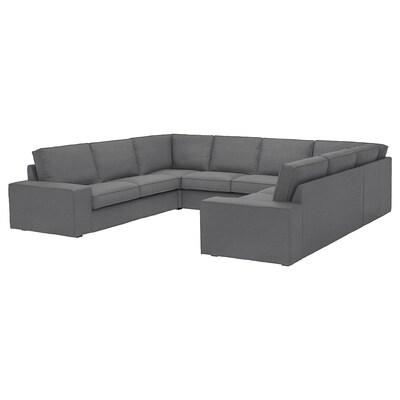 KIVIK U-shaped sofa, 6 seat, Skiftebo dark grey