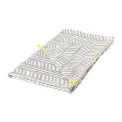 KLÄMMIG towel with hood, grey, yellow