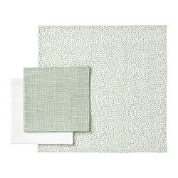 KLÄMMIG washcloth, green, white