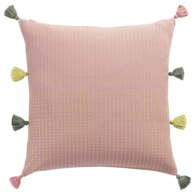 KLARAFINA Cushion cover, handmade pink/green, 50x50 cm