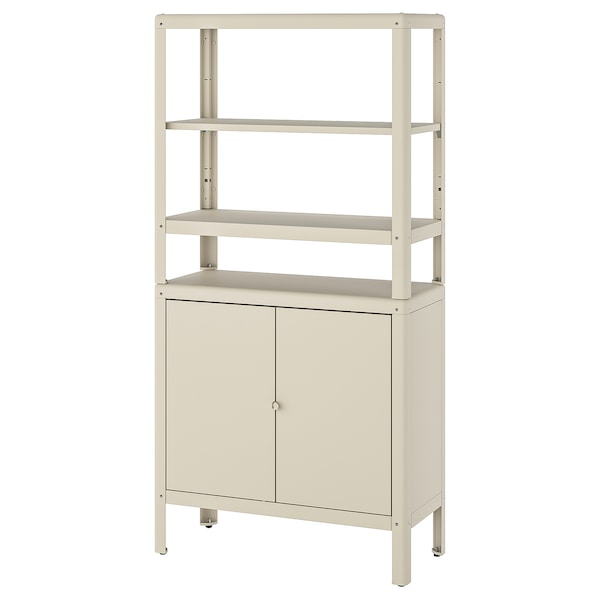 KOLBJÖRN Shelving unit with cabinet, beige, 80x37x161 cm