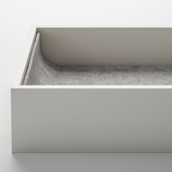 KOMPLEMENT Insert with 4 compartments, light grey, 15x53x5 cm