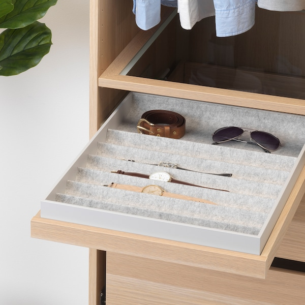 KOMPLEMENT pull-out tray with insert white stained oak effect 46.1 cm 50 cm 56.3 cm 6.7 cm 58 cm 10 kg