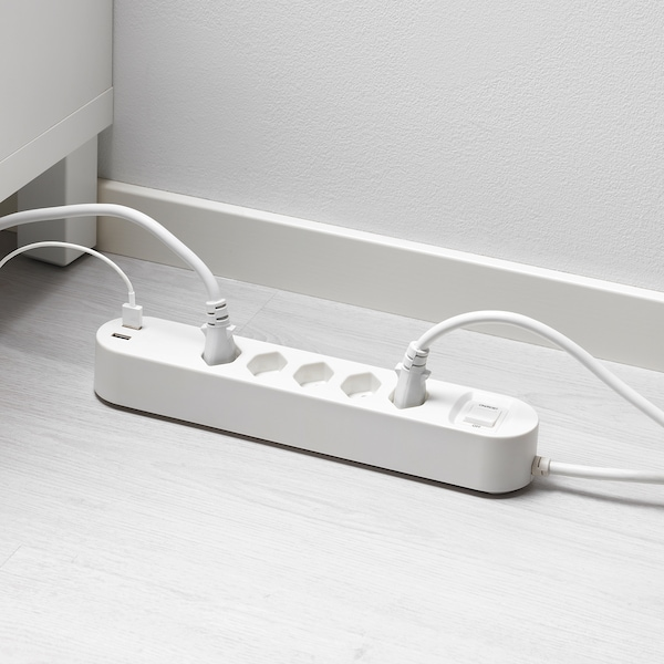 KOPPLA 5-way socket with 2 USB ports, white, 3.0 m